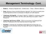 management terminology cont
