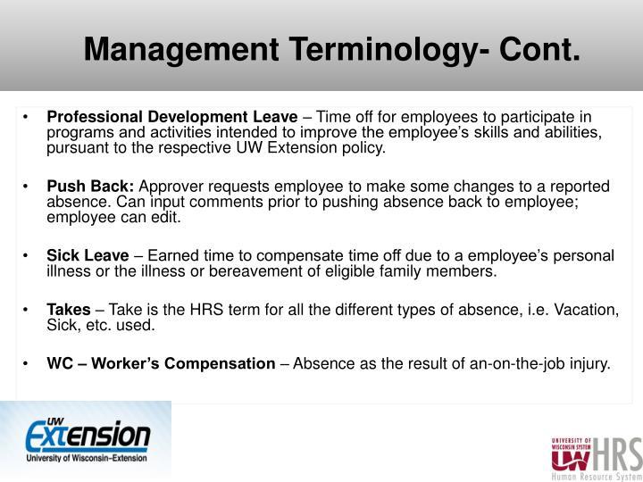 Management Terminology- Cont.