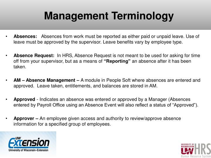 Management Terminology