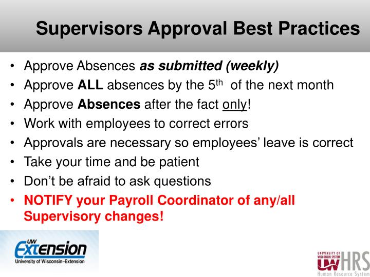 Supervisors Approval Best Practices
