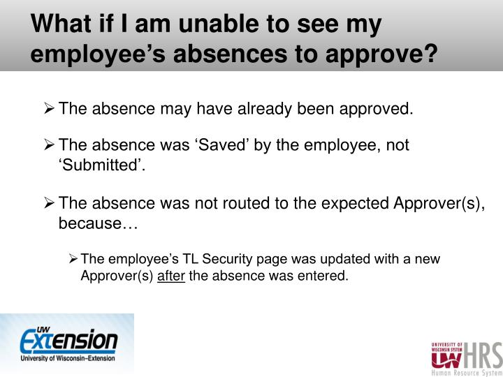 What if I am unable to see my employee's