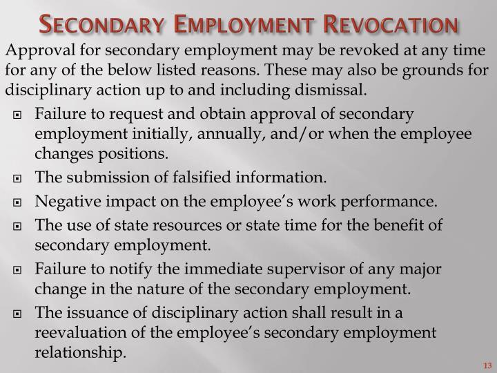 Secondary Employment Revocation