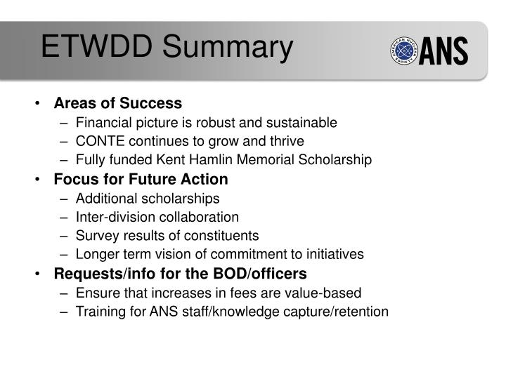 ETWDD Summary