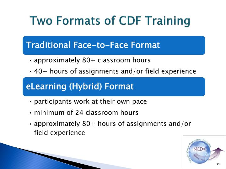 Two Formats of CDF Training