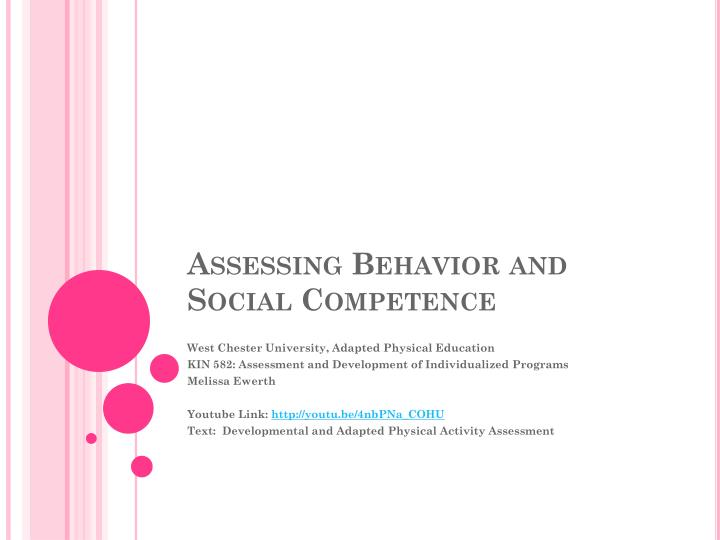 assessing behavior and social competence n.