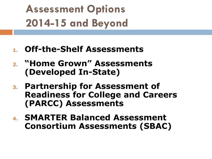 Assessment Options