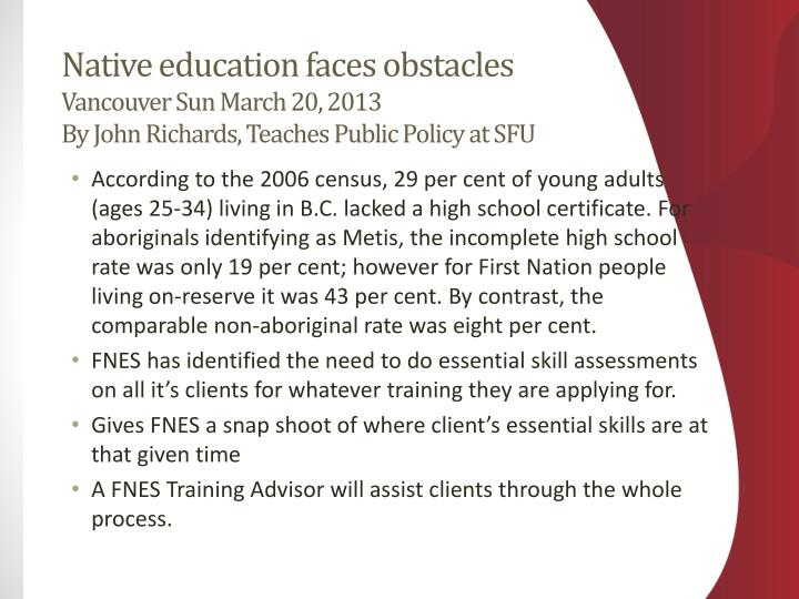 Native education faces obstacles