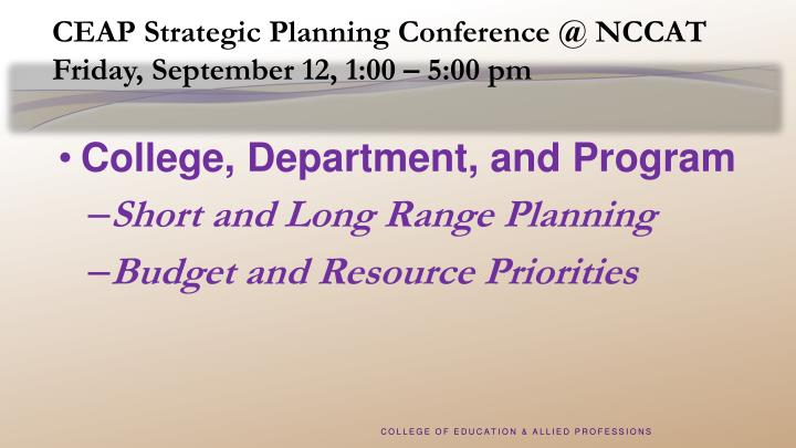 CEAP Strategic Planning Conference @ NCCAT