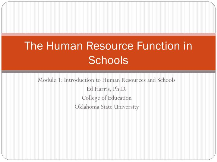 the human resource function in schools n.