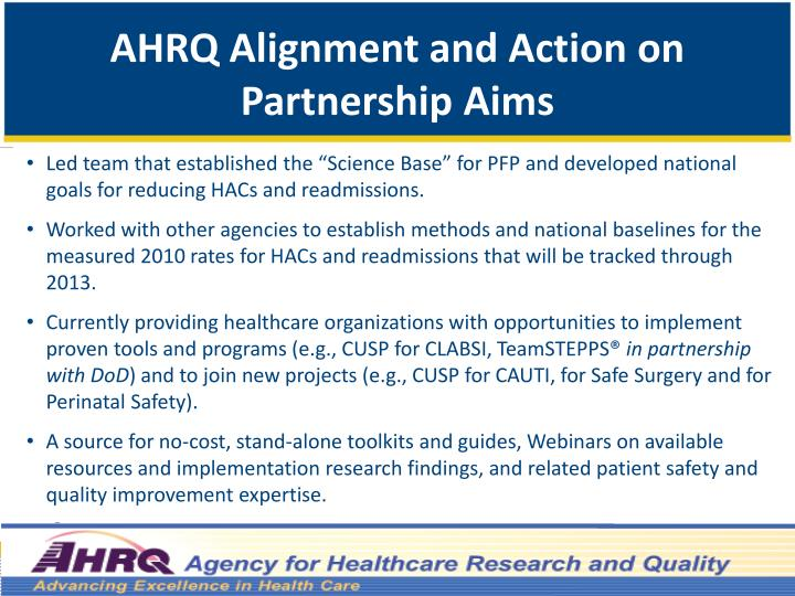 AHRQ Alignment and Action on Partnership Aims