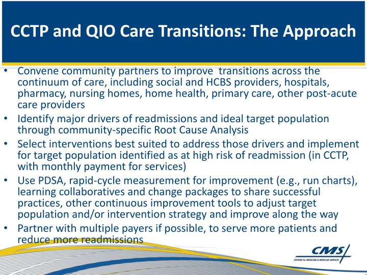 CCTP and QIO Care Transitions: The Approach