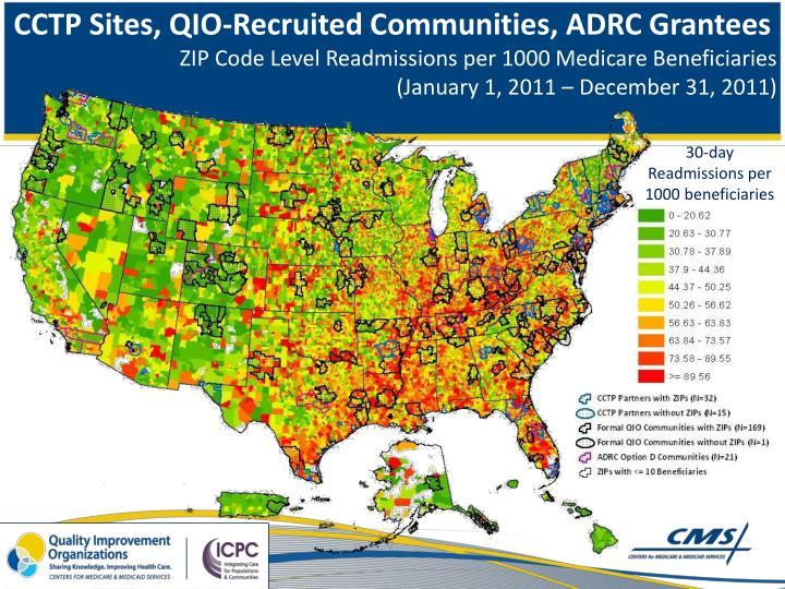 CCTP Sites, QIO-Recruited Communities, ADRC Grantees