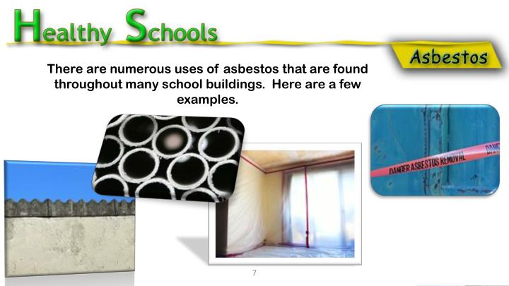 There are numerous uses of asbestos that are found throughout many school buildings.  Here are a few examples.