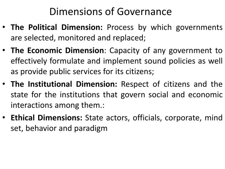 Dimensions of Governance