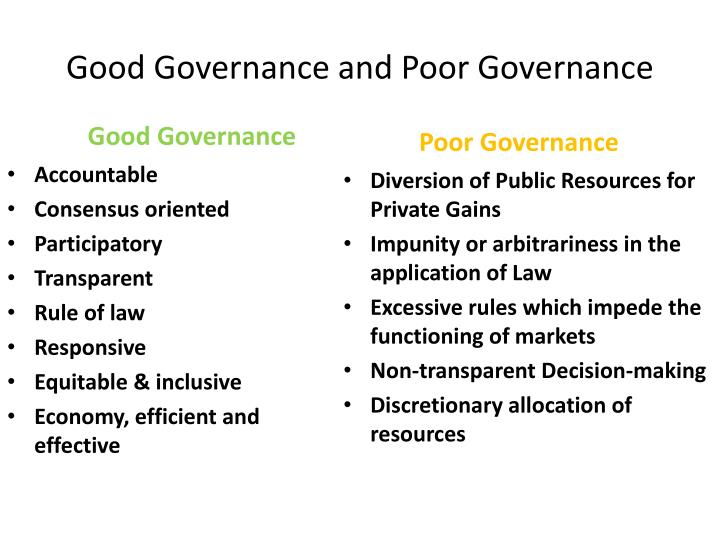 Good Governance and Poor Governance