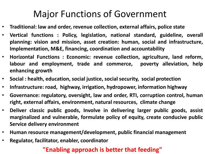 Major Functions of Government