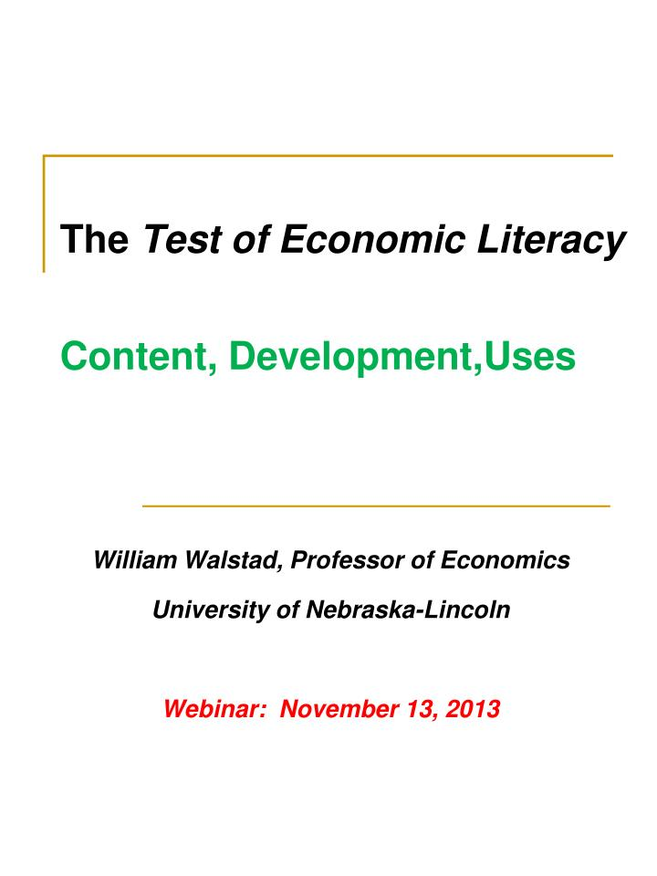 the test of economic literacy content development uses n.