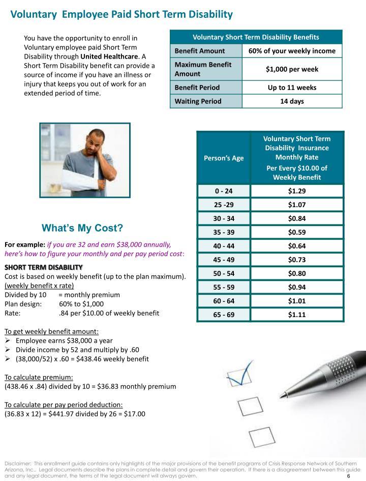 Voluntary  Employee Paid Short Term Disability