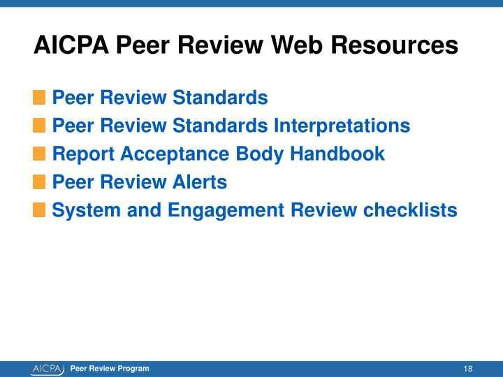 AICPA Peer Review Web Resources