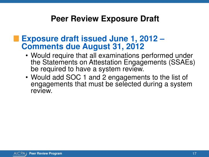 Peer Review Exposure Draft