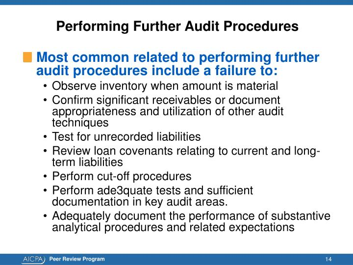 Performing Further Audit Procedures