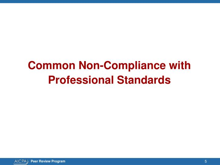 Common Non-Compliance with
