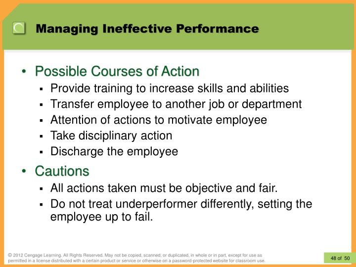 Managing Ineffective Performance