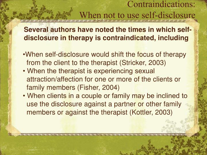 self disclosure in therapy