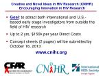 creative and novel ideas in hiv research cnihr encouraging innovation in hiv research