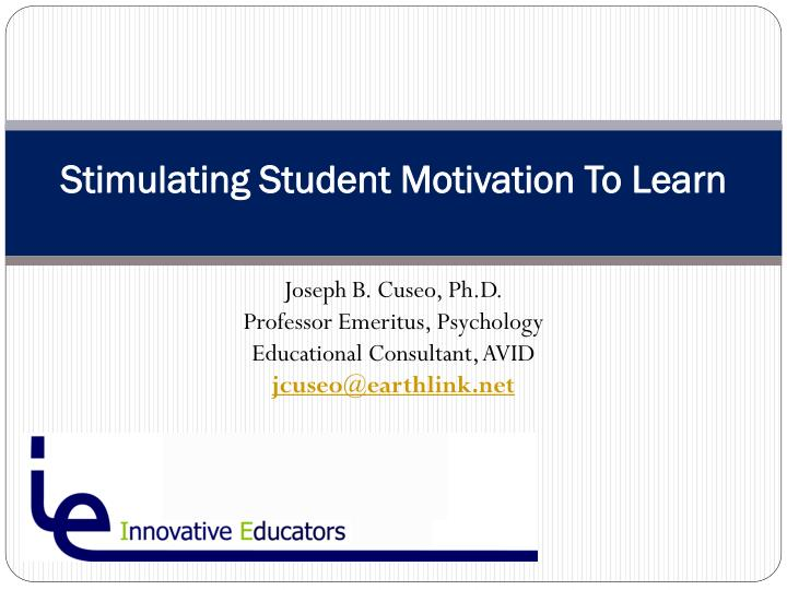 stimulating student motivation to learn n.