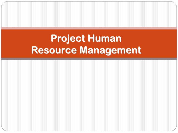 project human resource management n.