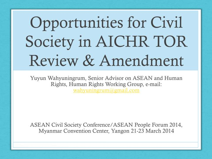 opportunities for civil society in aichr tor review amendment n.