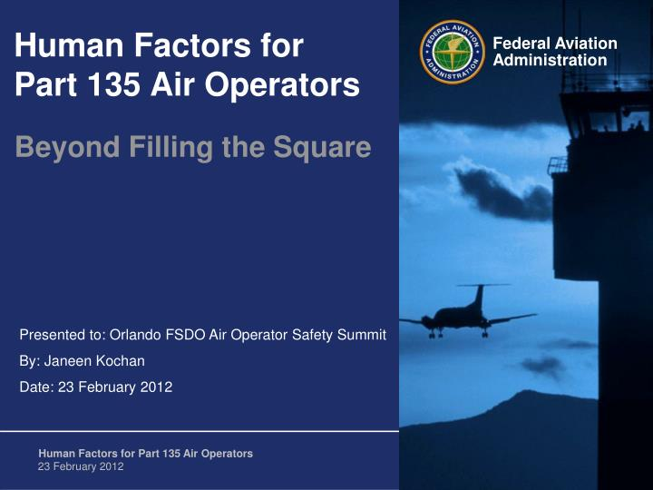 human factors for part 135 air operators n.