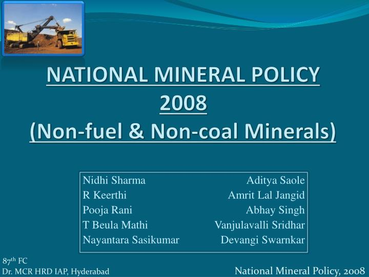 national mineral policy 2008 non fuel non coal minerals n.