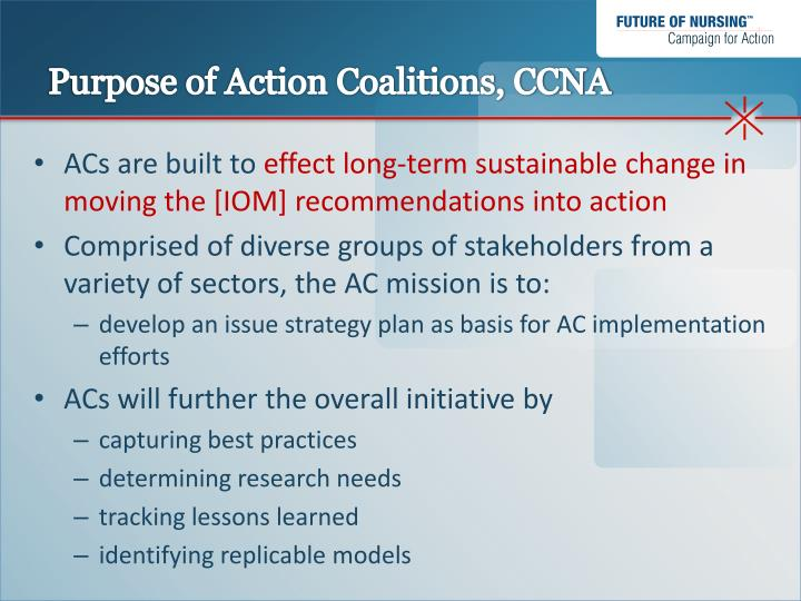 Purpose of action coalitions ccna