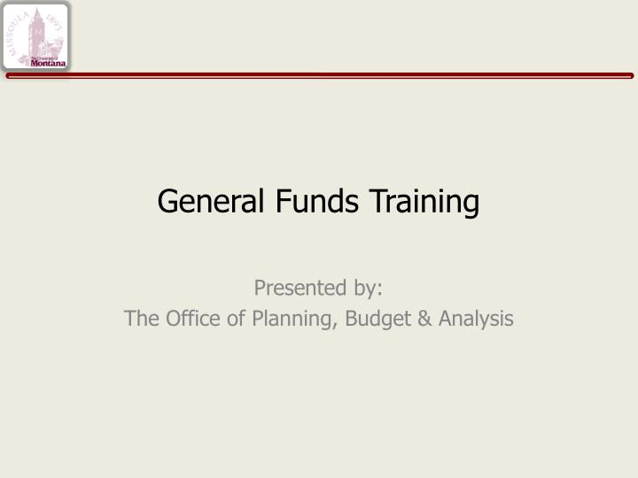 general funds training n.
