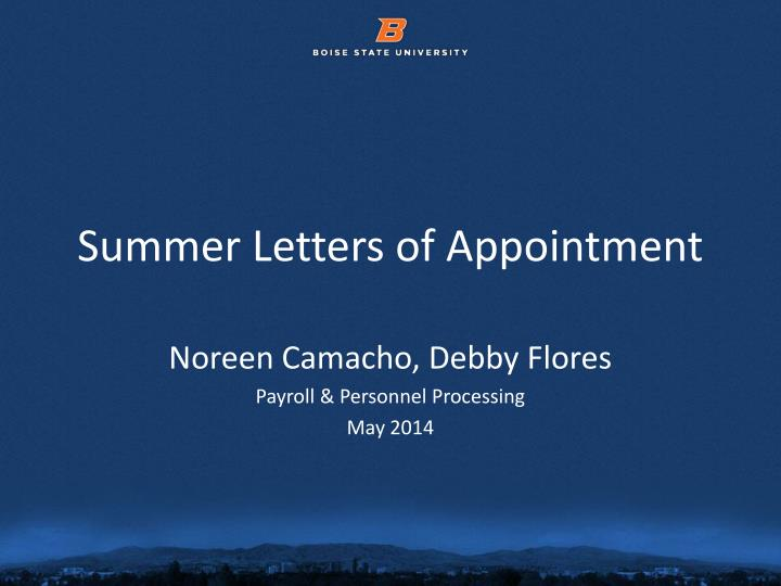 summer letters of appointment n.