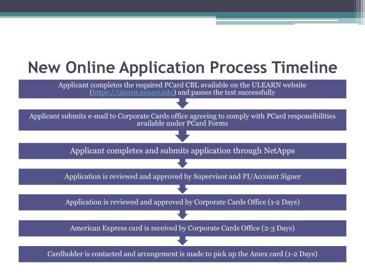 New online application process timeline