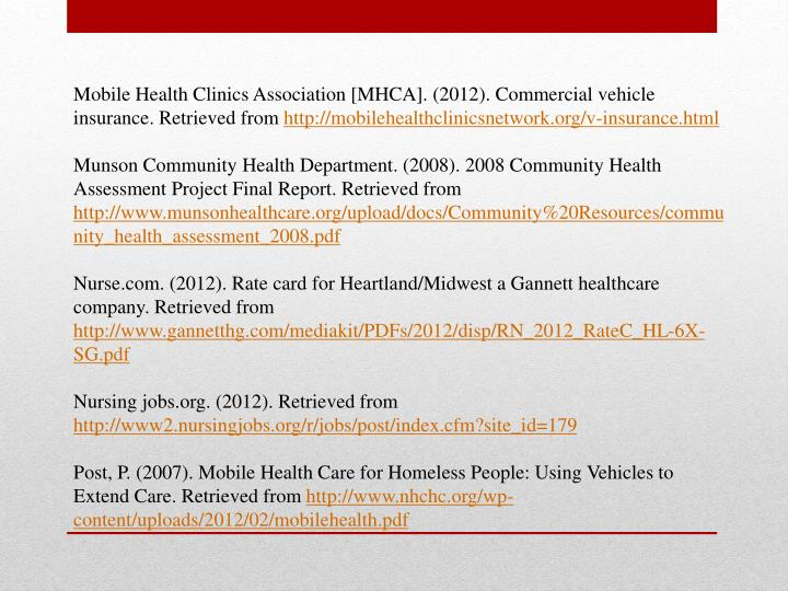 Mobile Health Clinics Association [MHCA]. (2012). Commercial vehicle insurance. Retrieved from
