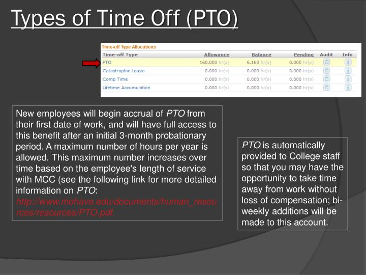 Types of Time Off (PTO)