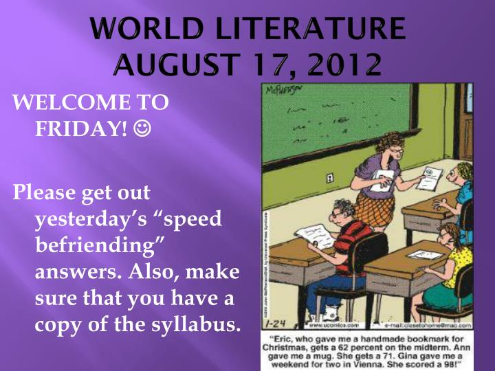 world literature august 17 2012 n.