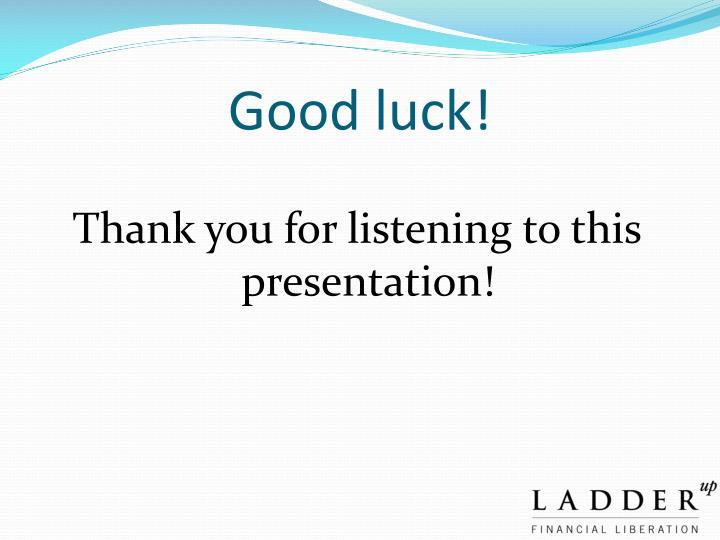 Good luck!