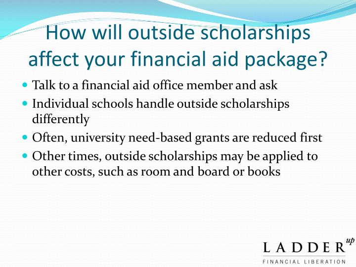 How will outside scholarships affect your financial aid package?
