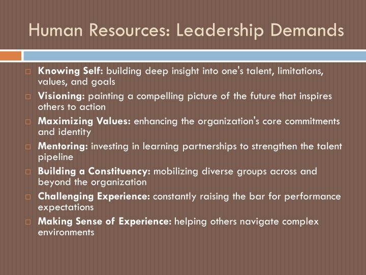 Human Resources: Leadership Demands