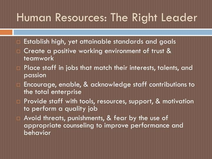 Human Resources: The Right Leader