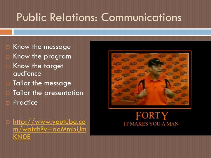 Public Relations: Communications