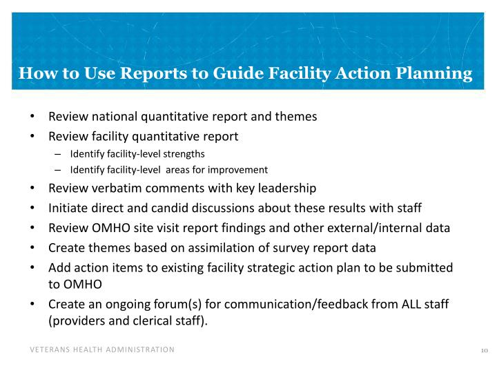 How to Use Reports to Guide Facility Action Planning