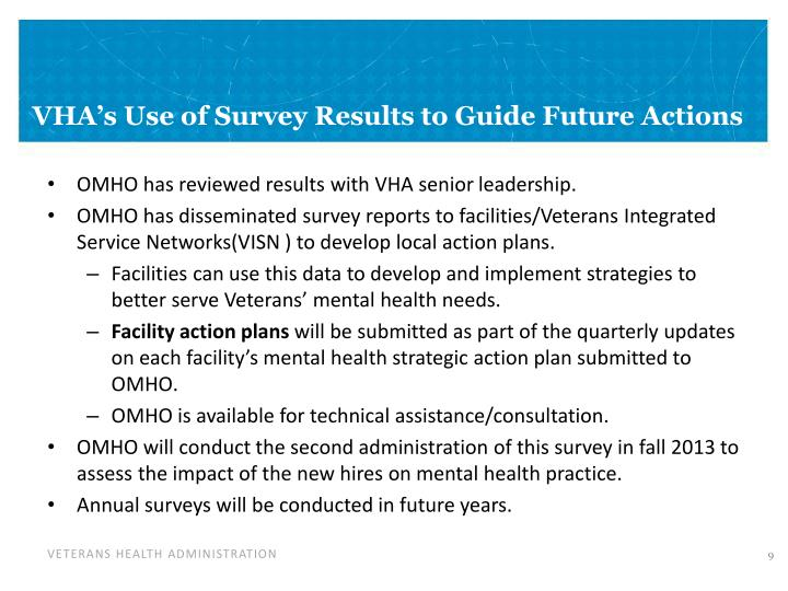 VHA's Use of Survey Results to Guide Future Actions