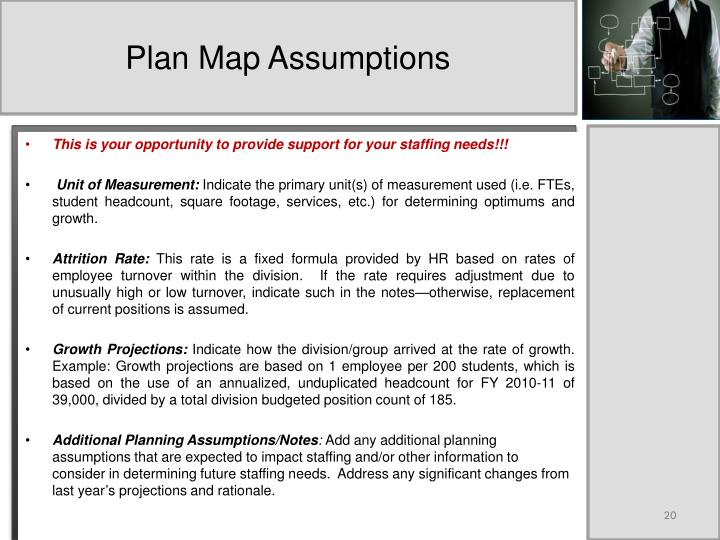 Plan Map Assumptions