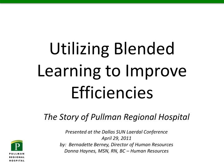 utilizing blended learning to improve efficiencies n.